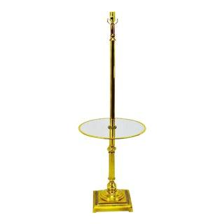 Vintage Mid Century Glass Table Top Brass Floor Lam