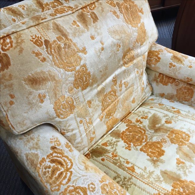Image of Mid-Century Golden Floral Chair & Ottoman