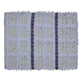 Striped Moroccan Berber Throw With Fringe