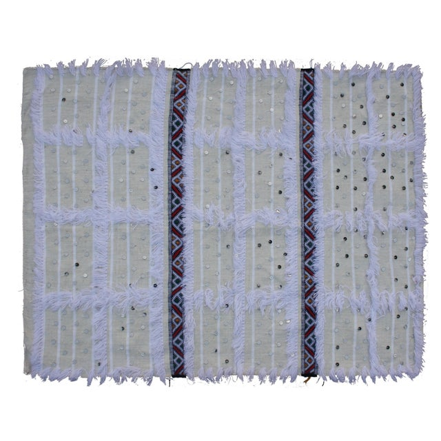 Striped Moroccan Berber Throw With Fringe - Image 1 of 3