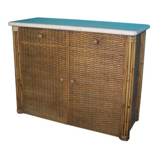 Freestanding Rattan Twin Murphy Bed