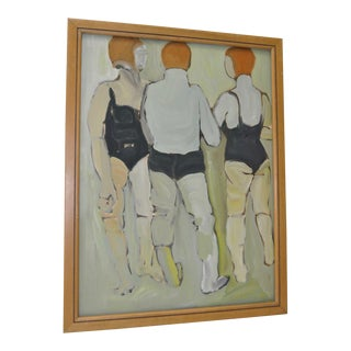 "Vintage Acrylic on Paper ""At The Pool"" by Flicka"