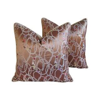 Custom Floral Garland Silk & Linen Pillows - Pair