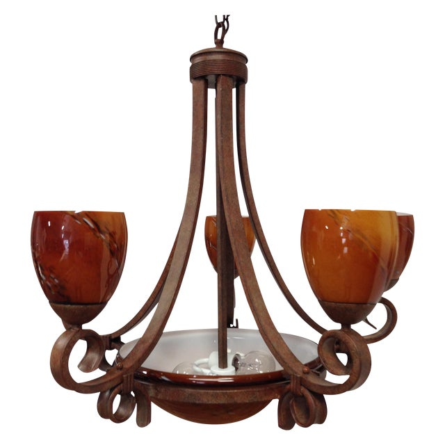 Blown Glass Rustic Chandelier - Image 1 of 8