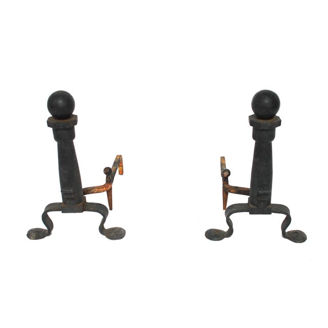 Image of Wrought Iron Cannonball And Irons Andrions