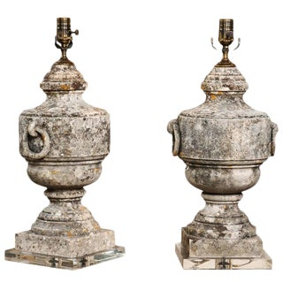 Pair of French 1880s Marble Urns Made into Table Lamps on Custom Lucite Base