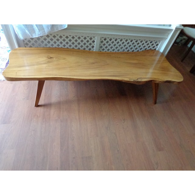 Mid Century Modern Acacia Wood Slab Coffee Table
