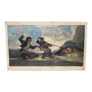 """Goya's """"Fight with Cudgels"""" Vintage Print on Canvas"""