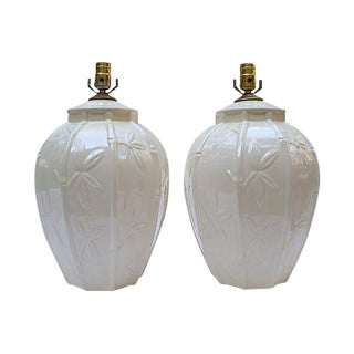 White Ceramic Bamboo Design Lamps - A Pair