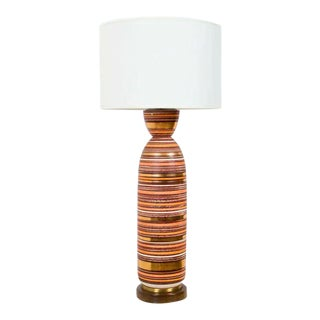 American Tall Bullet Form Striped Ceramic Table Lamp