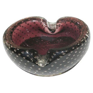 Italian Purple Art Glass Ashtray