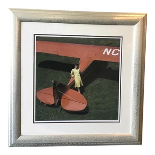 Model and Airplane Framed Photograph