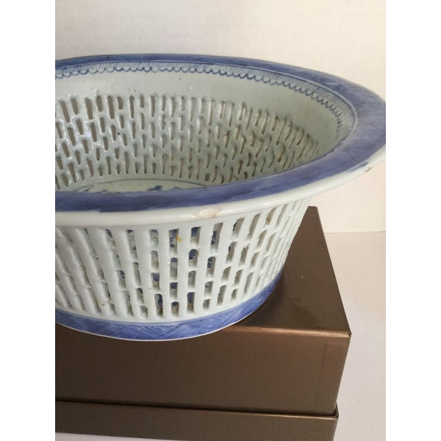 Chinese Canton Blue & White Basket - Image 4 of 7