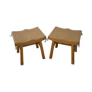Brandt Ranch Oak Stools - A Pair