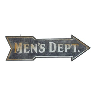 Early 20th Century Double Sided Men's Department Wood Sign