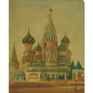 St. Basil's Cathedral Moscow Hand Tinted Photograph
