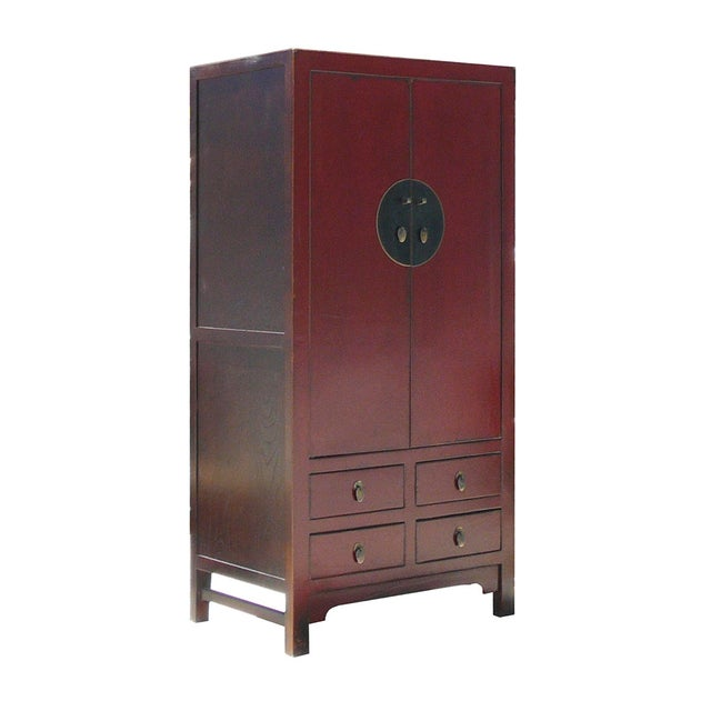 Image of Chinese Asian Red Armoire Cabinet