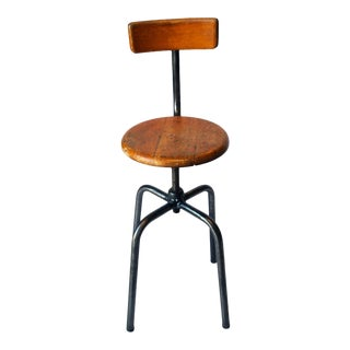 French Industrial Wood & Metal Chair