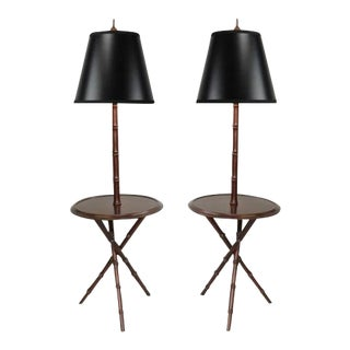 Chinese Chippendale Faux Bamboo Lamp Tables - A Pair