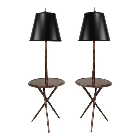 Chinese Chippendale Faux Bamboo Lamp Tables - A Pair - Image 1 of 11