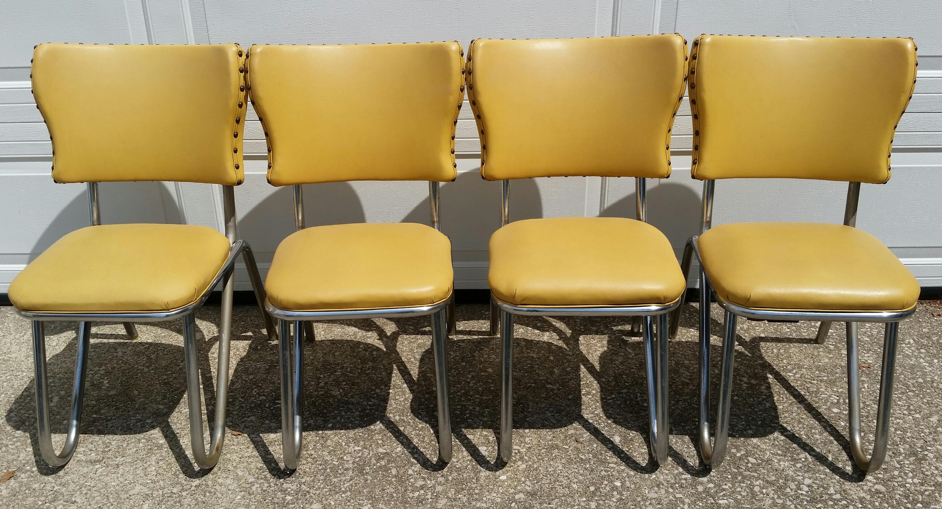 image of vintage midcentury retro yellow dining set