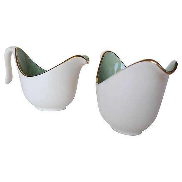 Image of Mid-Century Porcelain Gravy Boats - A Pair