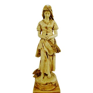 "Vintage Alexander Backer Co ""E. Peynot L'Angelus"" Chalkware Statue"