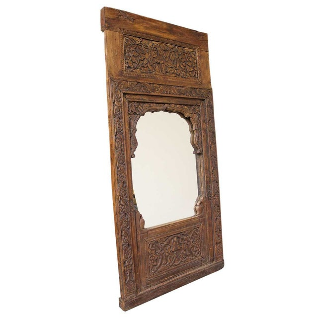 Image of Handcarved Wooden Mirror