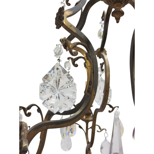 Antique French Gilt Bronze & Crystal Chandelier - Image 6 of 7