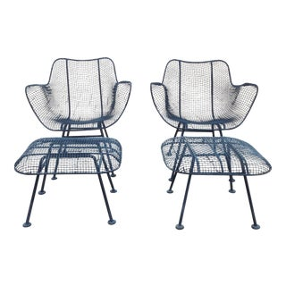 Russell Woodard Wire Chairs & Ottoman - Pair