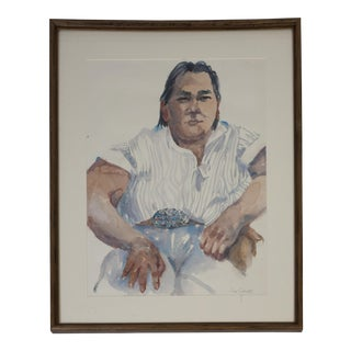 Southwest Native American Man Watercolor Portrait