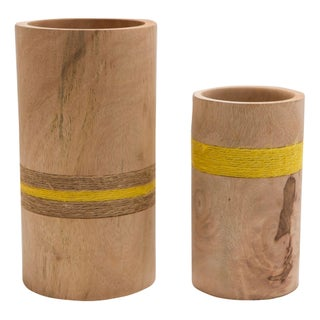 Wood Cylinder Vases - A Pair
