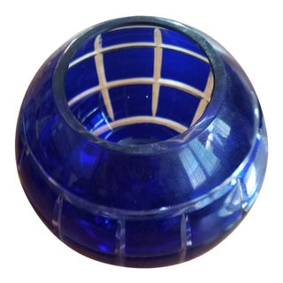 Antique Czech Blue Bohemien Crystal Candle Holder