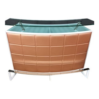 Curved Nylon Upholstered Metal & Glass Dry Bar