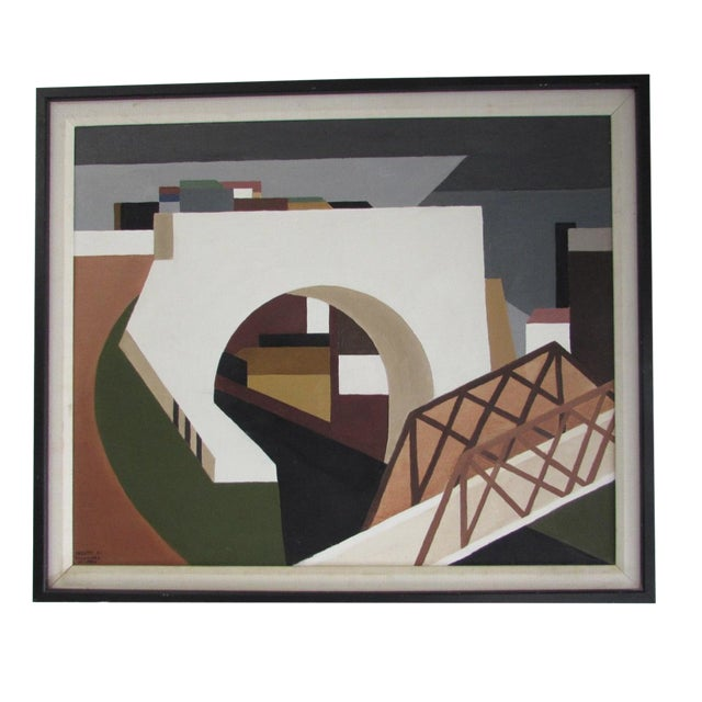 Architectural Mid-Century Painting - Image 1 of 4