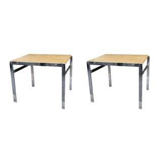 Vintage Mid-Century Modern Chrome End Tables - A Pair