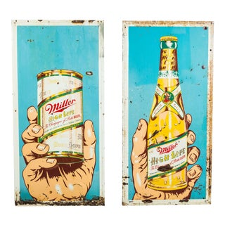 Pair of Pop Art Style Miller High Life Giant Hand & Girl in the Moon Advertising Signs Americana