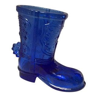 Cobalt Blue Cowboy Boot Shot Glass