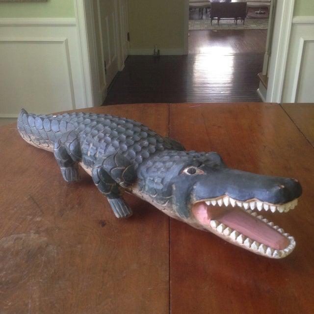 Image of Vintage Carved Wood Folk Art Alligator