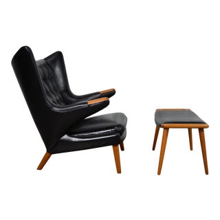 Hans Wegner Papa Bear Chair and Ottoman in Black Leather