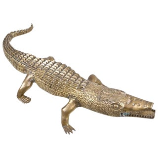 Large Brass Alligator Sculpture