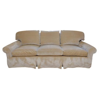 Custom Beige Cut Velvet Schumacher Fabric Sofa