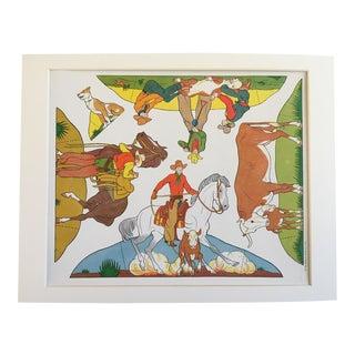 Vintage Cowboy & Indian Cut Outs - Uncut Sheet #7