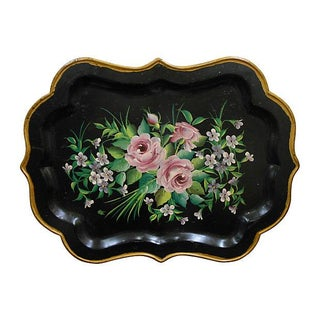 Hand Painted Tole Tray with Floral Design