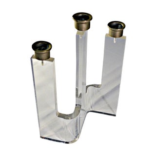 Three Light Single Lucite Candleholder