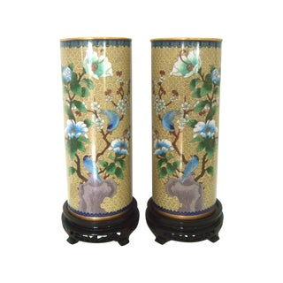 "Cloisonne Blue Bird ""Hat Stand"" Vases - Pair"