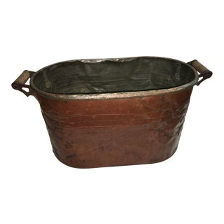Antique Rustic Wood Handled Copper Washtub
