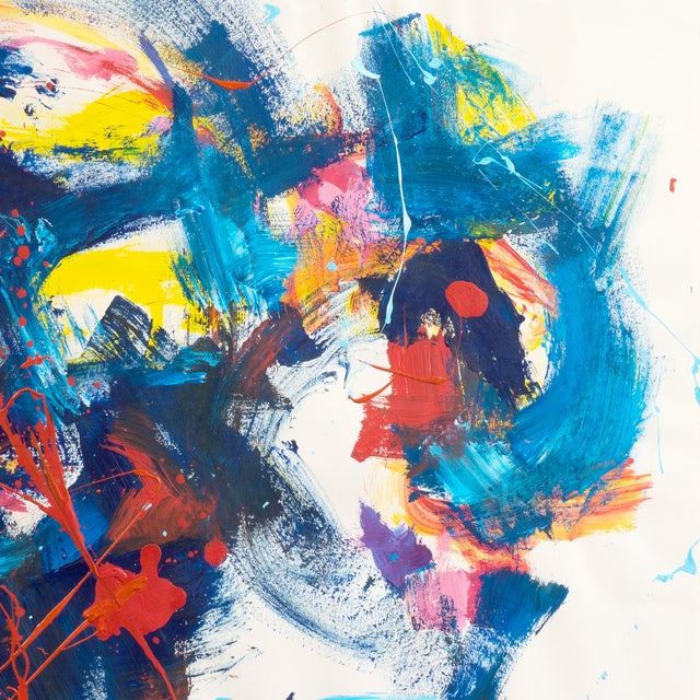 Image of Vintage Blue and Red Abstract Painting