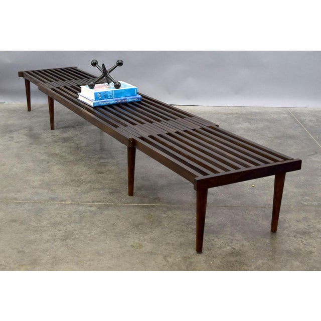 On Hold - John Keal for Brown Saltman Mid-Century Expandable Slat Bench or Table - Image 3 of 10