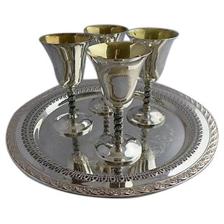 Vintage Silver Plated Stem & Tray - Set of 5